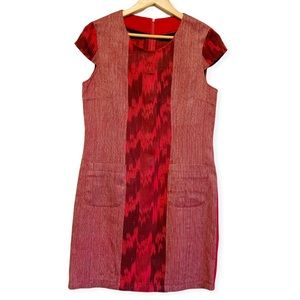 Vintage hand stitched Maroon red shift fall dress size medium to large